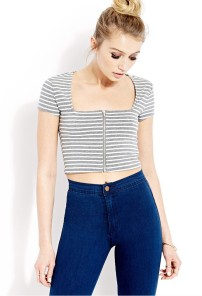 striped crop top blue jeans
