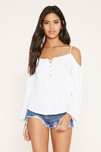 white off the shoulder shirt