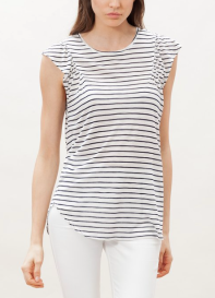 stradivarius striped top with frill trim
