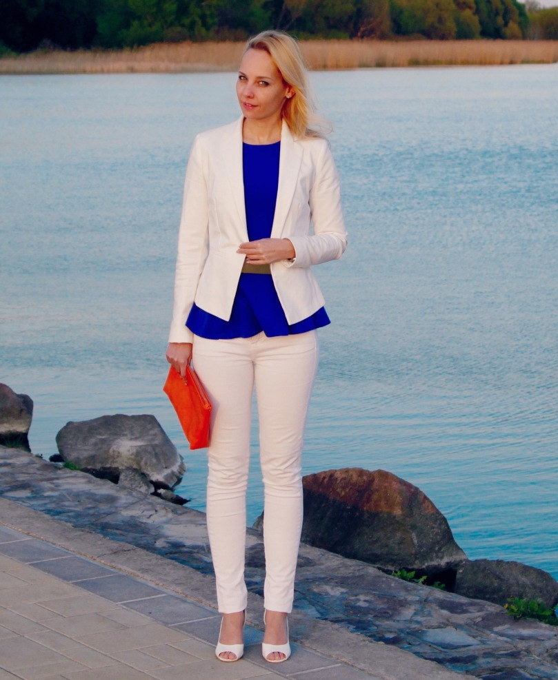 white blue peplum outfit