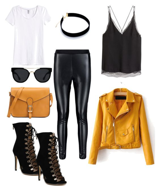 black yellow fall outfit with lace and leather