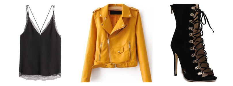yellow balck fall outfit