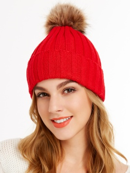 red knit hat