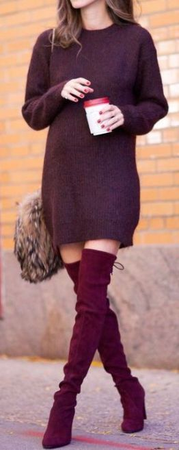 knit dress with over the knee boots