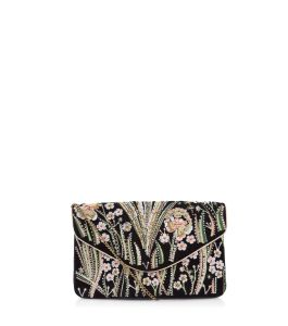 black floral embroidered clutch