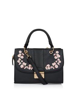 black floral embroidered hand bag