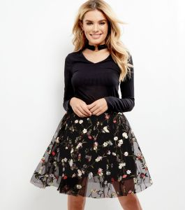 black premium mesh floral embroidered skater skirt