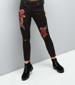 black floral embroidered ripped skinny jeans