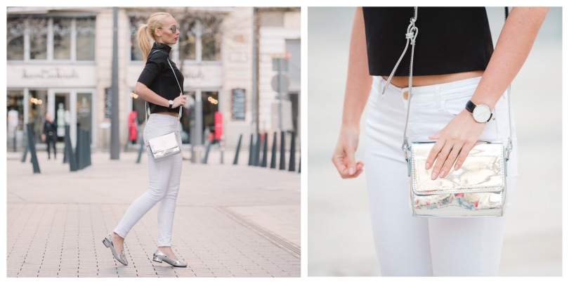 black and white outfit with metal accessories