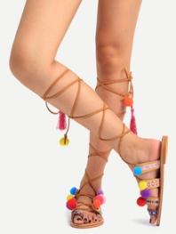 pom pom sandals
