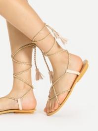 gold tassel sandals