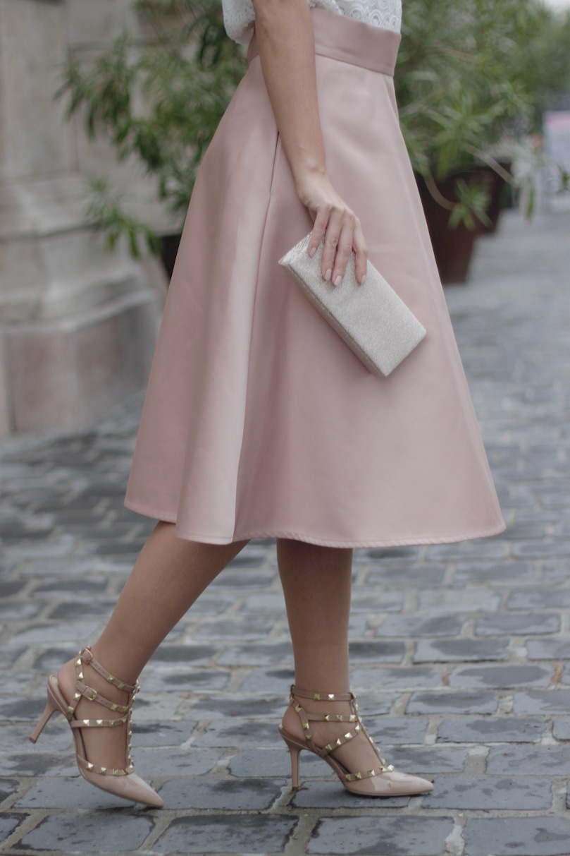 nude skirt rockstud shoes