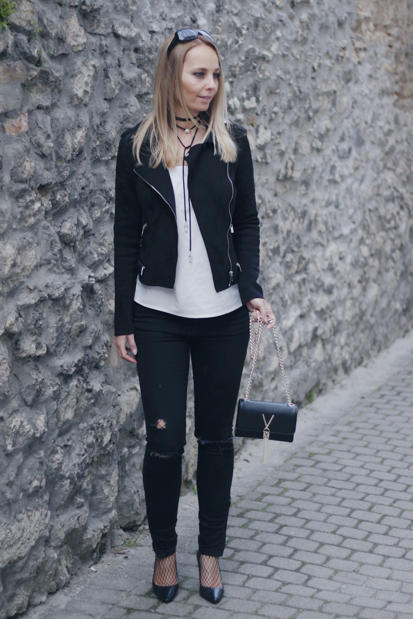 leather jacket and distressed jeans
