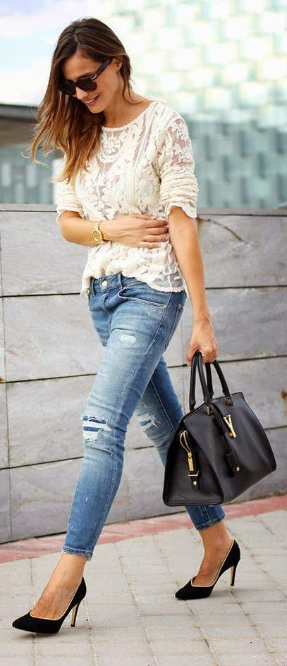 lace spring outfit