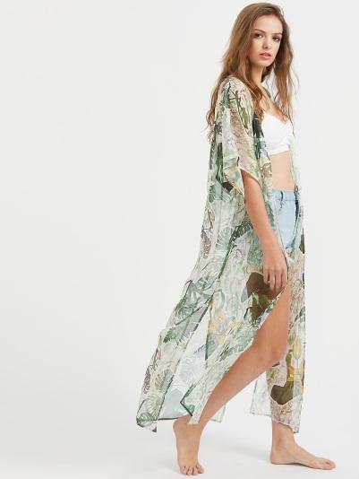 trópusi mintás kimono