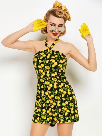 citrom mintás egyberészes