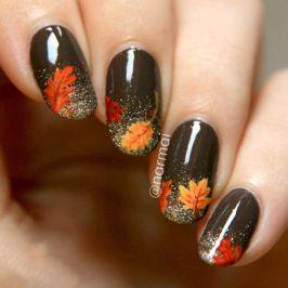 őszi faleveles köröm minta