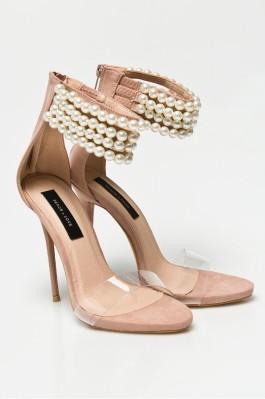 nude gyöngyös magassarkú cipő missguided