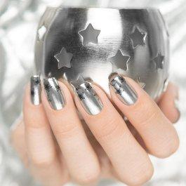 ezüst csillagos köröm minta