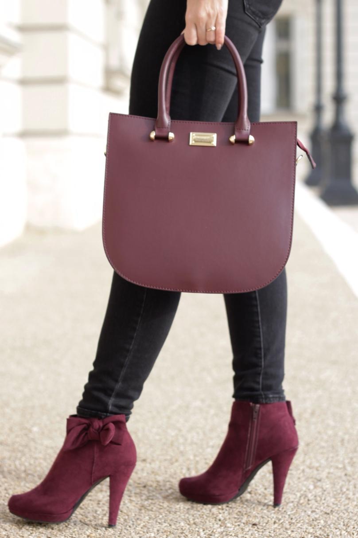 bordó kiegészítők bokacsizma táska bőr masnis