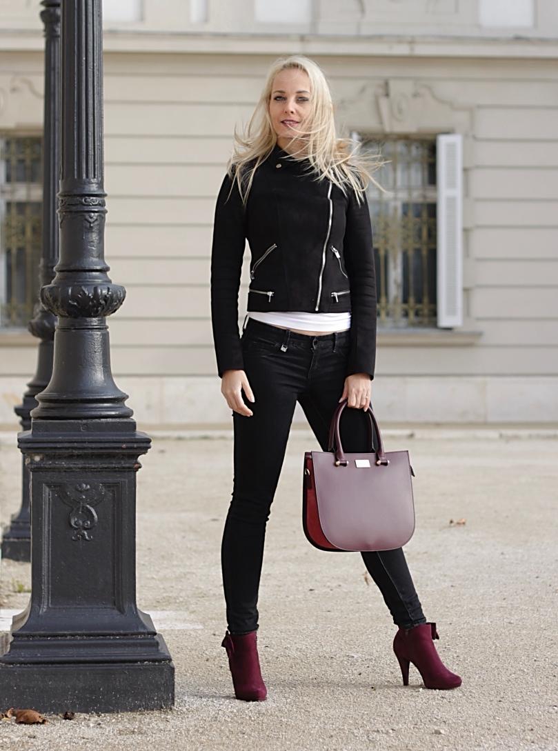elegáns bőr táska fekete dzseki