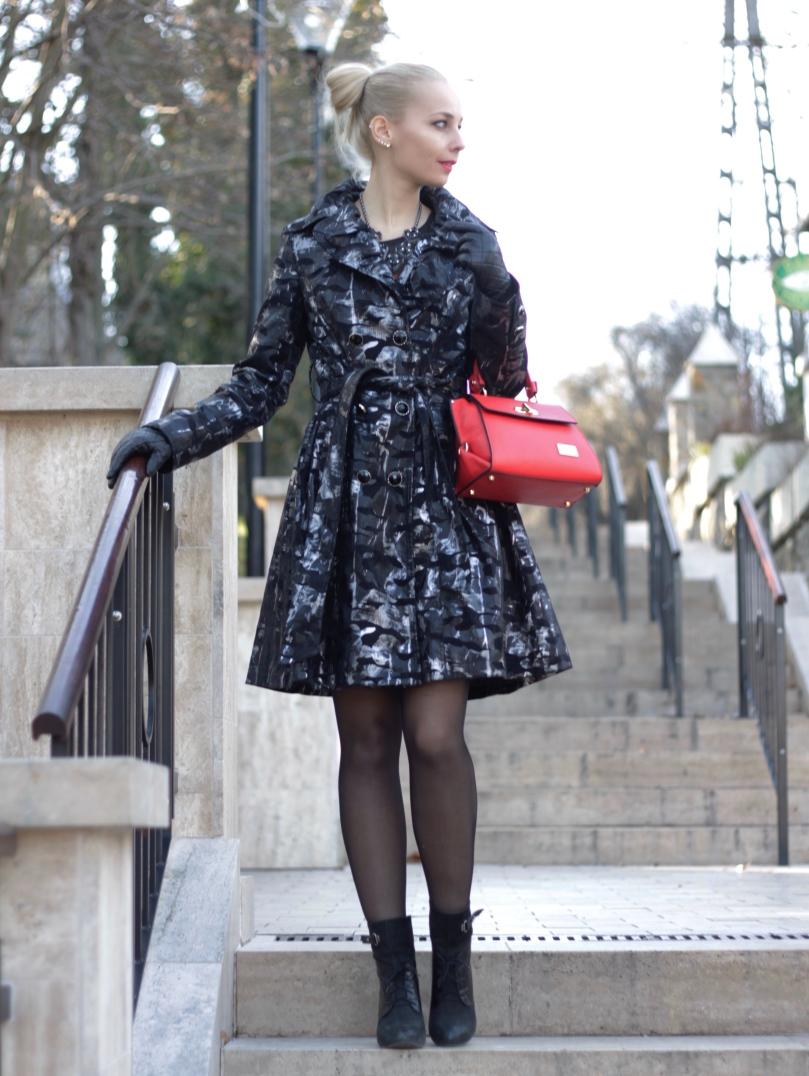 téli kabát piros bőr táska