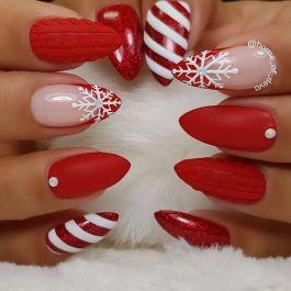 piros karácsonyi körmök