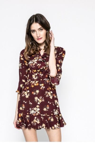 bordó virágos answear ruha