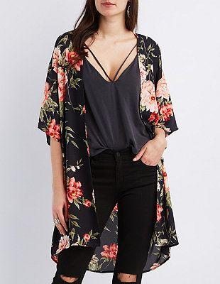 fekete szolid kimono outfit