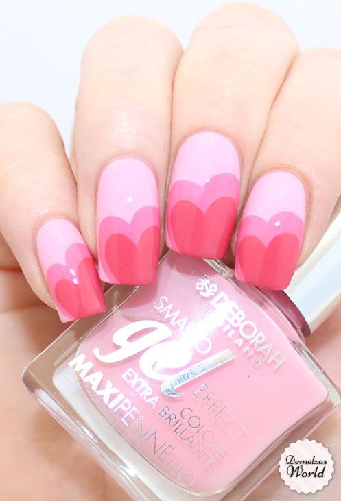 rózsaszín gyönyörű valentin napi köröm