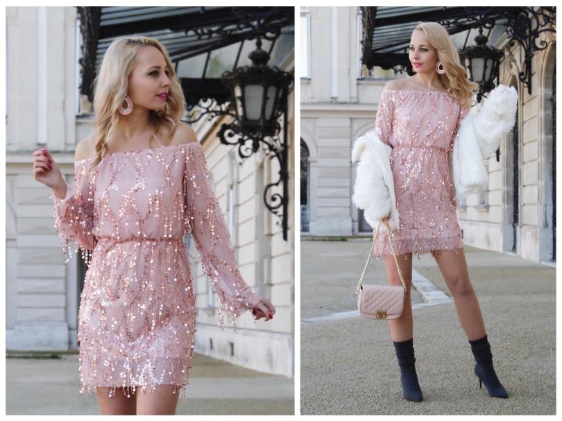 pink alkalmi ruha műszőrme bundával