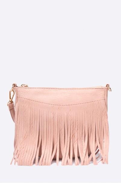 rózsaszín rojtos velúr táska