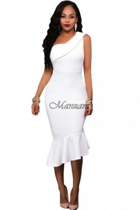 fehér fodros kisestélyi alkalmi ruha