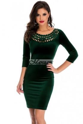 zöld bársony koktélruha alkalmi ruha