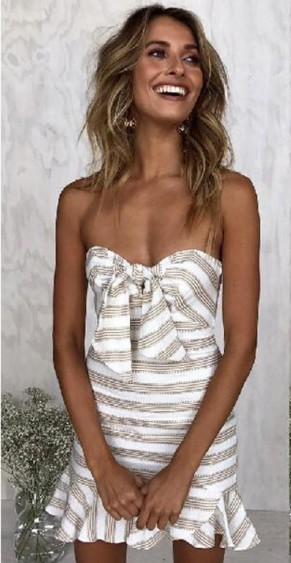 megkötős egyedi csíkos nyári ruha