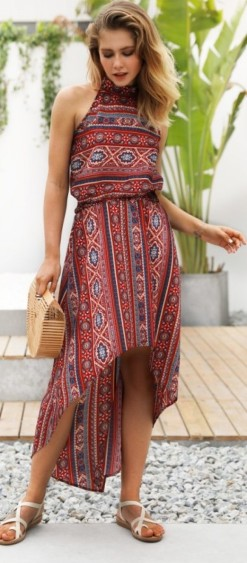 tribal mintás asszimetrikus nyári ruha