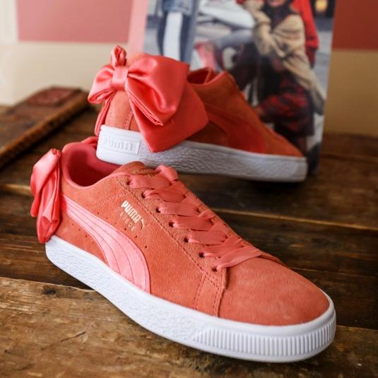 mályva puma suede bow cipő
