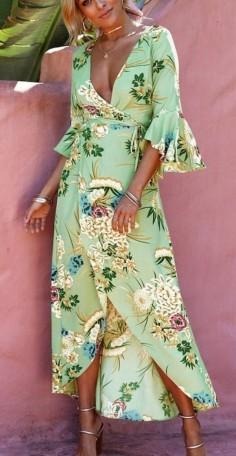 zöld virágos fodros lapolós ruha