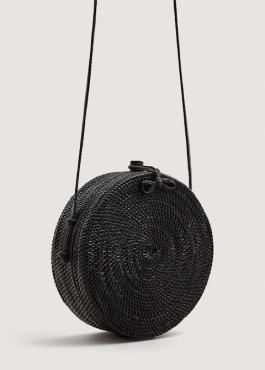 fekete kerek raffia táska