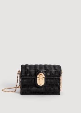 fekete koffer raffia táska