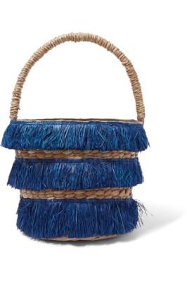 kék rojtos kerek designer táska