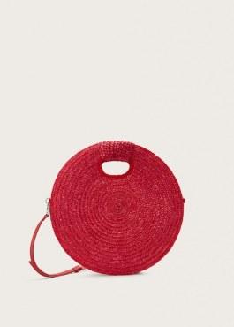 piros kerek táska