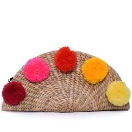 legyező alakú szalmatáska színes pom-pommal