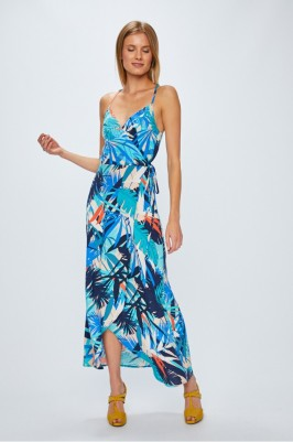 kék mintás nyári maxi ruha