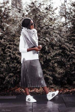 divatos ezüst rakott szoknya