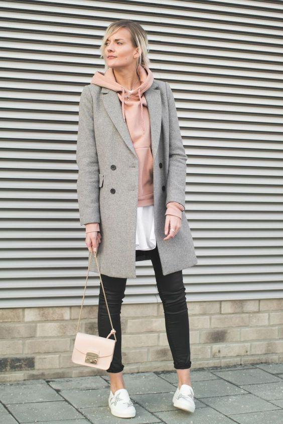 fe08316ff4 őszi szövet kabát kapucnis pulcsival