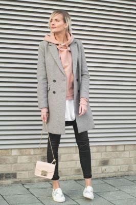 őszi szövet kabát kapucnis pulcsival