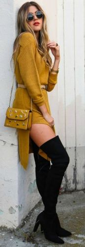 mustár sárga kötött ruha