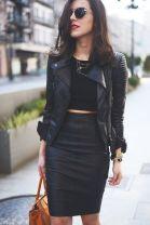 feket bőr dzsekis őszi outfit