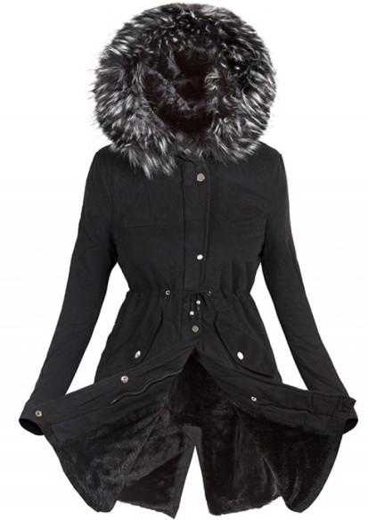 fekete szőrmés átmeneti kabát